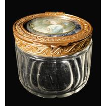 Polvera Francesa Cristal Bronce Con Miniatura Pintada A Mano