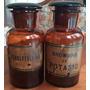 2 Antiguos Frascos De Farmacia Ambar C/etiquetas Originales