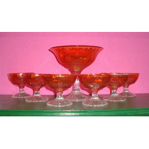 Carnival Glass -bowl Con Pie Y 6 Compoteras-flute And Cane-