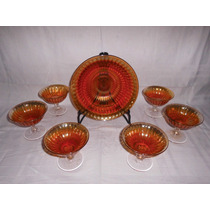 Juego Carnival Glass Frutera Y 6 Copas Compoteras (ángela)