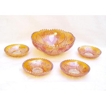 Antiguo Bowl Con 4 Platos Carnival Glass