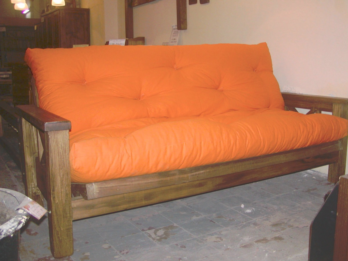 Fut n 3 cuerpos r stico sill n rel x y cama 2 plazas for Sillon cama 2 plazas y media