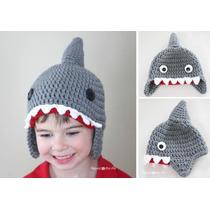 Gorro Tejida A Crochet De Tiburón
