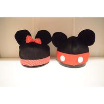 Gorrito De Polar Bebe Con Diseño De Minnie Y Mickey Mouse
