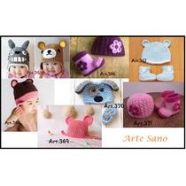 Gorritos Y Botitas, En Conjunto Tejidos A Crochet Para Bebes