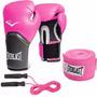 Combo Box:guantes Pro Style Elite Everlast +venda +soga Rosa