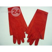 Guantes P/dama Cabritilla Gamuzada Usados T 6 1/2 C Rojo Ber