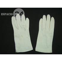 Guantes P/dama De Jersey De Algodón Usados T 6 Color Blanco.