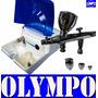 Compresor Y Aerografo Profesional Olympo 3 Copas Y Regulador