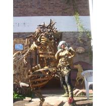 Escultura Caballo De Hierro De 2m Parada En Una Pata