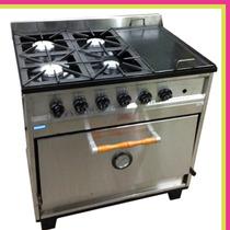 Cocina Industrial Premium 4 H Y Plancha Horno Pizzero
