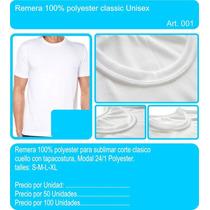 Remeras Lisas Para Sublimar 100% Poliester Hombre Mujer