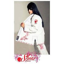 Kimono Femenino Jiu Jitsu Shiai Blanco Bjj Tramado Bordado