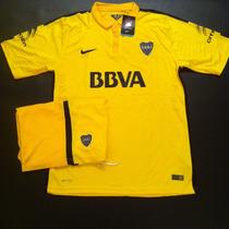 Promo Boca Suplente Amarilla 2016 Conjunto Camiseta+short