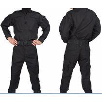 Uniforme Tactico Negro Y Azul Policial Corte Americano Rips