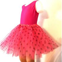 Malla Musculosa Y Tutu Lunares Ballet Danza Rosa Rojo Etc