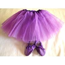 Tutu Brilloso Y Badanas Zapatillas Media Punta Ballet Danza