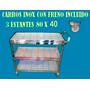 Carro Inox Servicio Carrito Catering Hospital Ruedas + Freno
