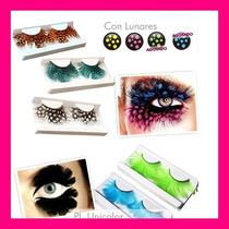 Pestañas X 2 Fantasi Plumas C/pegamento Adhesivo Ojos