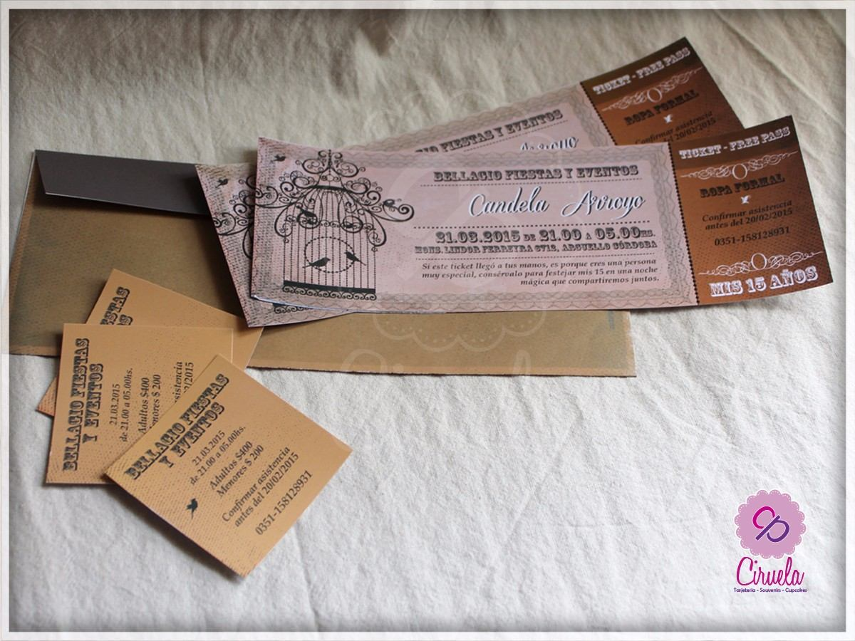 Invitaciones 15 anos ticket vintage para imprimir 881501 for Decoracion xv anos vintage