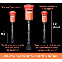 Buzon Rojo Correo Argentino Con Pie Fundicion Capital