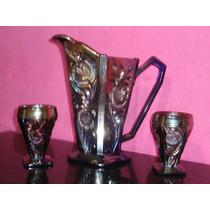 Carnival Glass Azul Iridiscente - Jarra Y Dos Vasos