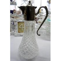 Antigua Jarra De Cristal Virola Silver Plate England