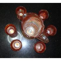 Carnival Glass - Jarra Y 6 Vasos - Modelo Cosmos