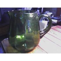 Jarra Antigua De Vidrio Color Verde Con Asa
