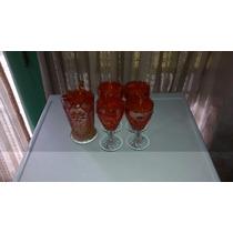 Antiguo Juego Carnival Glass Jarra Y 4 Copas Grande