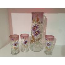 Antigua Jarra Cristal Veneciano Con Detalles En Oro +3 Vasos