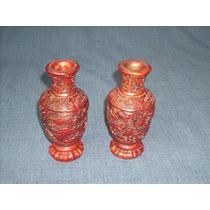 2 Jarrones De Ceramica Patinada . Trabajados Sobrerelieve