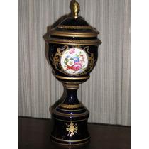 330-potiche Anfora Porcelana Sevres 43 Cm Cobalto Y Oro
