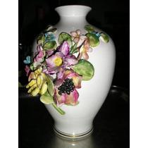 150-jarron-florero De Porcelana Flores En Relieve Bordes Oro