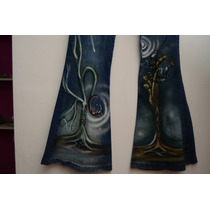 Jeans Mujer Artesanal Pintado A Mano.( Elastizado)