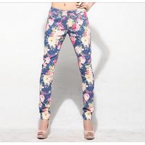 Pantalon Mujer Flores Importado Elastizado Vintage