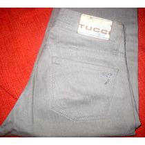 Pantalon De Jean Mujer Tucci Color Gris Plata Con Brillos