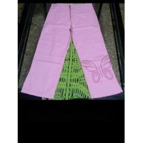 Pantalón De Gabardina Rosa Pintado En La Botamanga, Talle 12