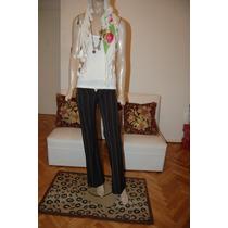 Pantalon De Vestir Elatizado Color Negro Con Rayitas Blancas