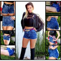 Shorts De Jean Tiro Alto Con Parches Elastizados