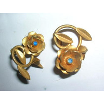 Antiguos Y Hermosos Aros Floreados Bronceados Piedra Azul