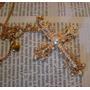 Cruz Cristiana. Filigrana, Perlas Y Baño Oro.