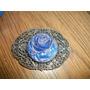 Antigua Hebilla De Bronce Plateado Y Carnival Glass Azul