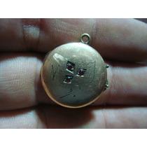Antig Relicario Guardapelo Baño D Oro C/ Monograma Y Piedras