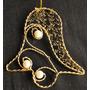 Colgante Bijouterie En Metal Dorado Y Perlas Regalo Navidad