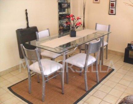 Mesas para comedor extensibles rectangulares mesa cristal for Juego de comedor de vidrio