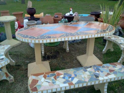 Juego de jard n mesa y bancos plegables nuevo oferta for Mesa y banco de jardin