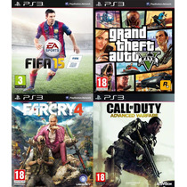 Fifa 15 - Call Of Duty Aw - Far Cry 4- Gta V 5 Digital Ps3