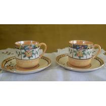 2 Dúos Café Porcelana Tornasol Japòn Tazas Platitos+ Plato