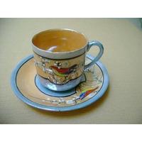Dúo Pocillo Taza Y Plato En Porcelana Japonesa Té Café